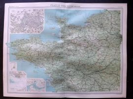 Bartholomew 1922 Large Map. France, North Western Section